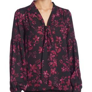 Parker Floral Print Tie Neck Blouse.NWT!